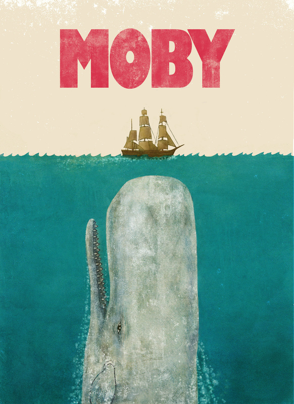 smrvl art music writing scattershot blog archive jaws moby  jaws moby dick mashup print by terry fan